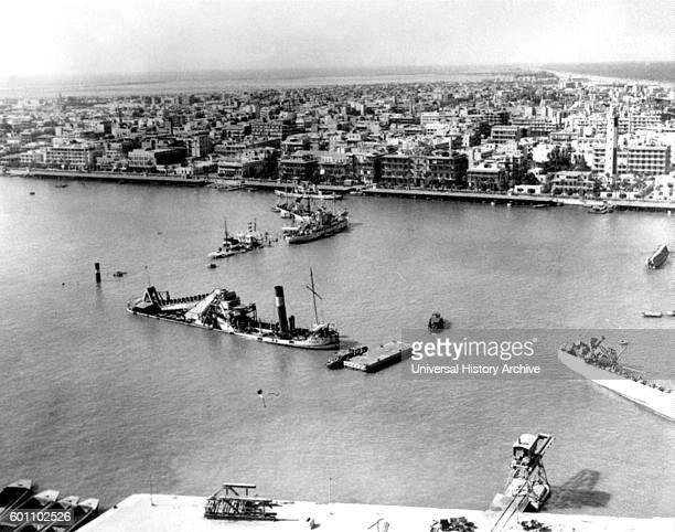 Photograph of Scuttled ships blocking the entrance to the Suez canal at Port Said during the SixDay War between Israel and Egypt Dated 20th Century