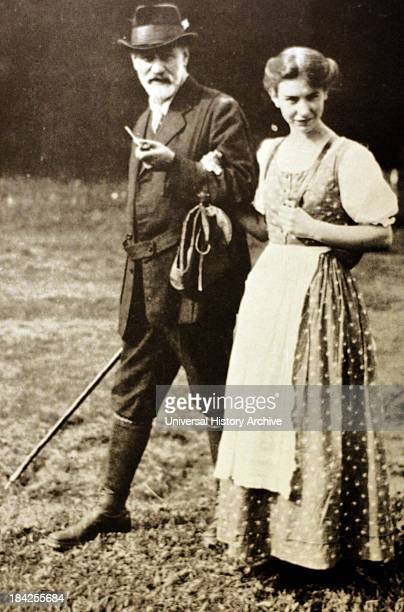 Photograph of Sigmund and Anna Freud, Father and Daughter. Sigmund was an Austrian neurologist known as the founding father of psychoanalysis. Anna...