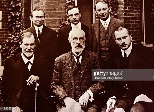 Photograph of Sigmund Freud, Carl Jung and Sandor Ferenczi along with other members of the growing world of psychoanalysis, in front of Clark...