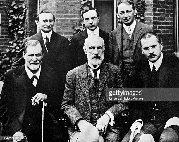 Photograph of Sigmund Freud Carl Jung and Sandor Ferenczi along with other members of the growing world of psychoanalysis in front of Clark...