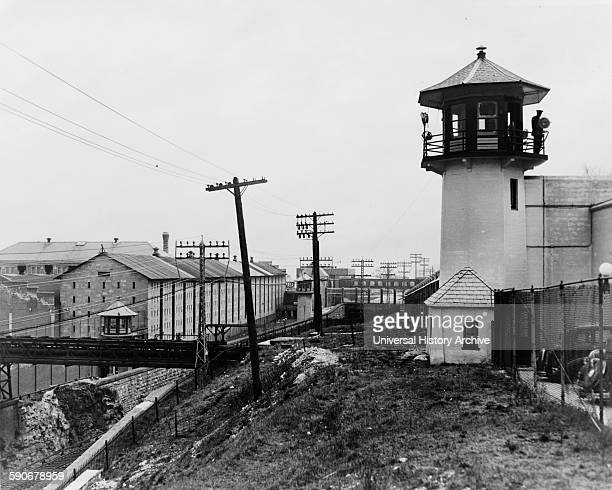 Photograph of Sing Sing Prison showing guard tower and cell block Dated 1938
