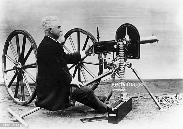 Photograph of Sir Hiram Stevens Maxim with his famed Maxim Gun Undated photograph