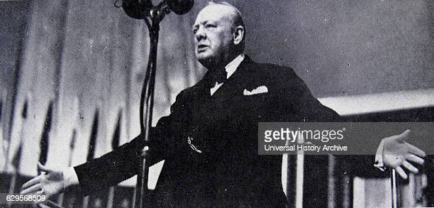 """Photograph of Sir Winston Churchill giving his first speech as Prime Minister to the House of Commons """"Blood, Toil, Tears and Sweat"""". Dated 1940"""