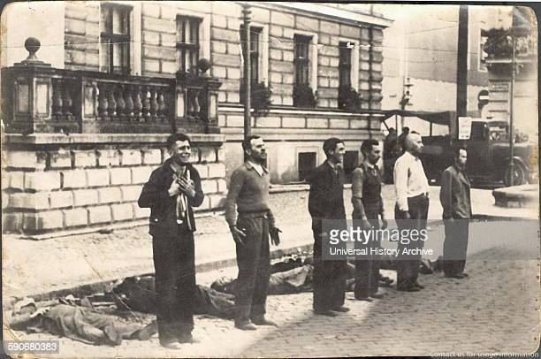 Photograph of six Polish civilians moments before death by firing squad Dated 1939