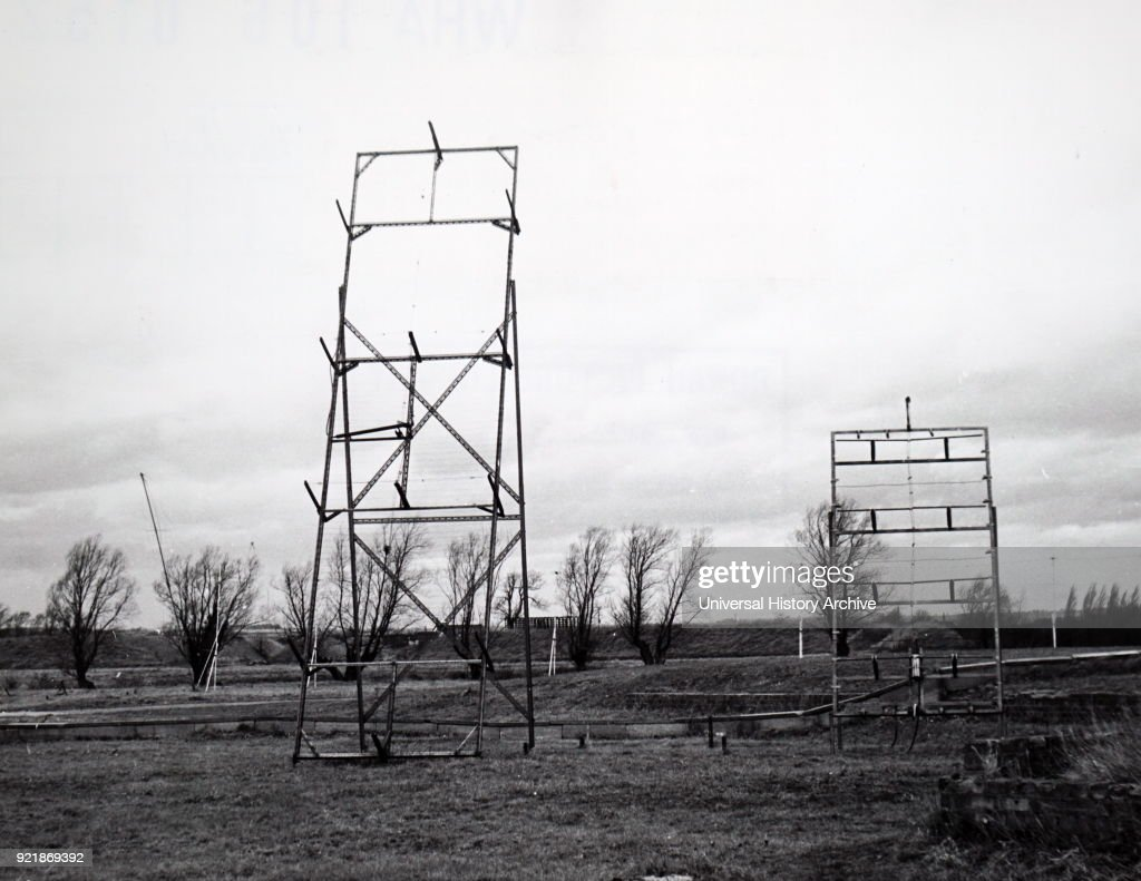 Photograph of solar aerials located at the Mullard Radio Observatory, Cambridge, England. Dated 20th century.