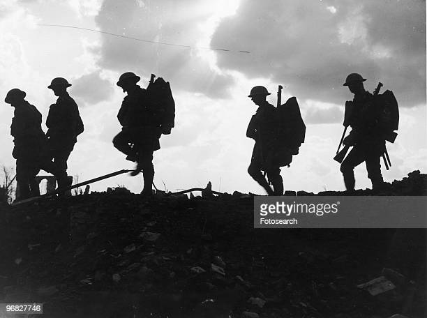 A Photograph of Soldiers of the 8th East Yorks walking up to the Line near Frezenberg on October 5 1917