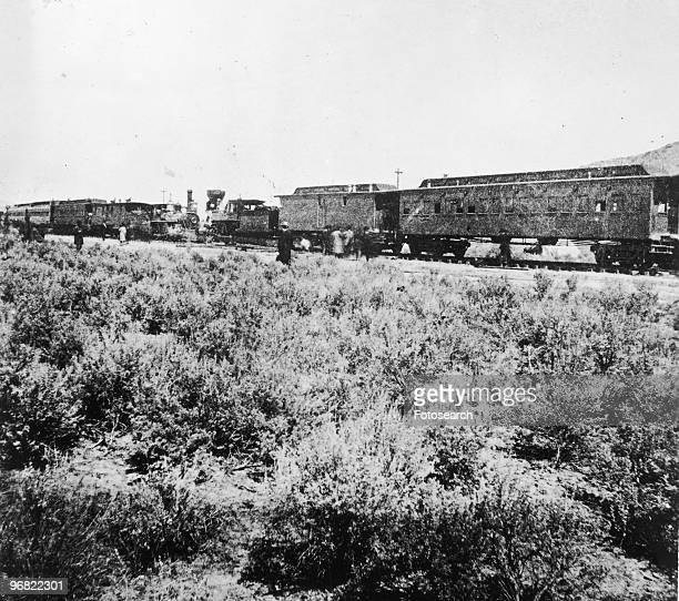 Photograph of Special Trains of CP UP after Driving of Golden Spike circa May 1869