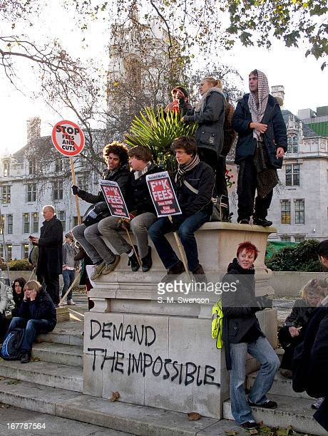 Photograph of student demonstrators during the Autumn 2010 Student Protests against the trebling of university fees that passed later that evening ....