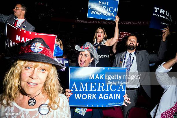 Photograph of supporters on the floor of the Republican National Convention in Cleveland Ohio on Tuesday July 19 2016