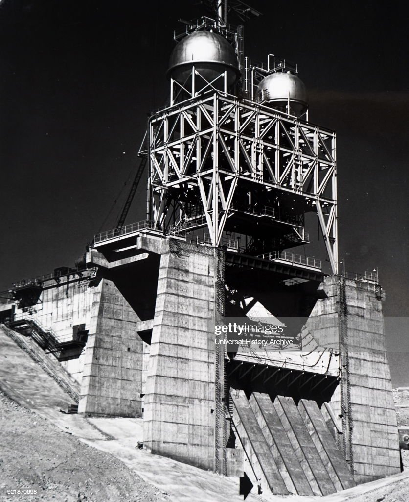 Photograph of taken of the site of the Edwards Rocket, California. Largest rocket engine test stand in free world is nearing completion at Edwards Rocket Site, California. Dated 20th century.