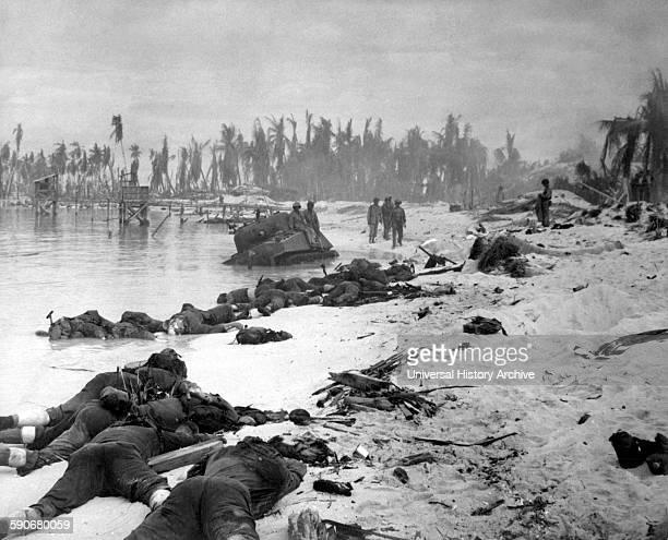 Photograph of Tarawa Beach during the Battle of Tarawa Dated 1944