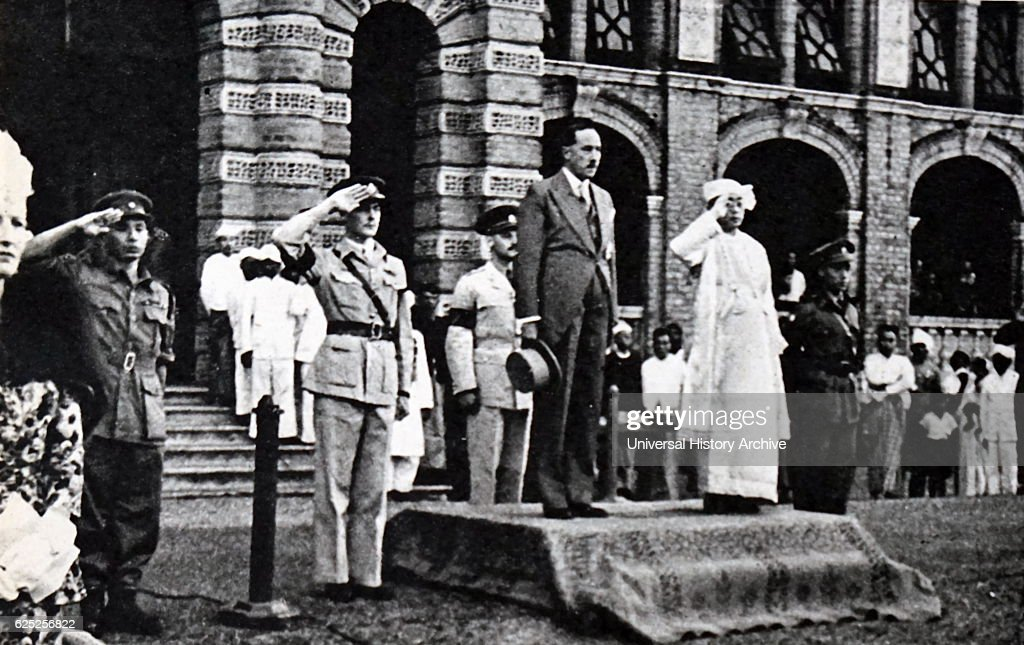Photograph of Thakin Nu (1898-1974) the last British Governor of Burma and Sao Shwe Thaik (1894-1962) the first President of the Union of Burma, during the Independence Day celebrations in Burma. Dated 20th Century.