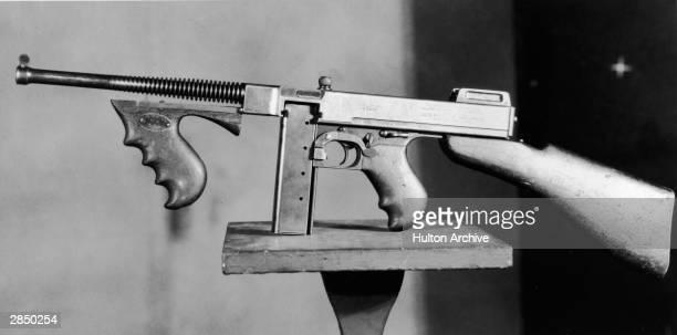 Photograph of the 1921 model of the Thompson Machine Gun circa 1921