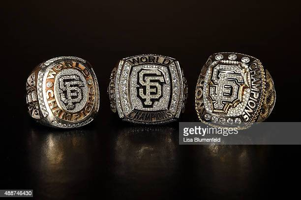 A photograph of the 2010 2012 and 2014 San Francisco Giants World Series rings on September 1 2015 in Los Angeles California