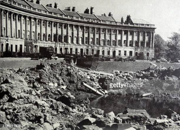 Photograph of the aftermath of a bomb that missed the Royal Crescent Bath Dated 1942