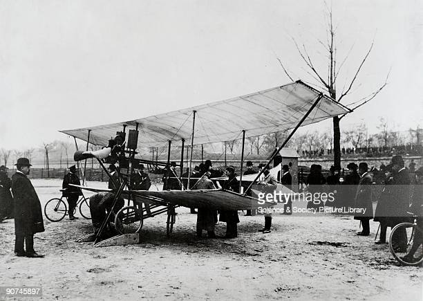 Photograph of the aircraft during trials surrounded by interested onlookers De Pischoff was one of the early European pioneers of powered flight...
