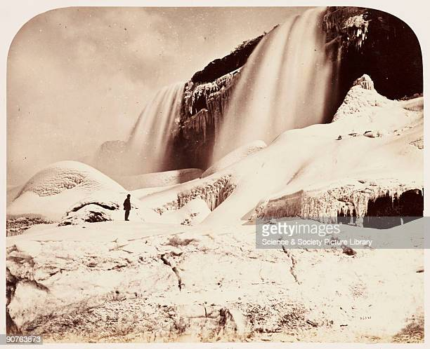 A photograph of the American Falls at Niagara taken by William McFarlane Notman in 1860 during the Royal Visit to Canada of Albert Prince of Wales...