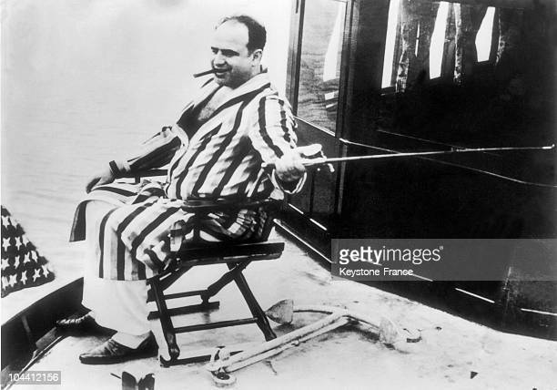 Photograph of the American gangster Al CAPONE on his yacht between 1925 and 1930