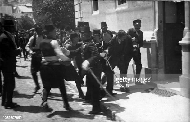 Photograph of the arrest of Gavrilo Princip after the assassination of Archduke Franz Ferdinand of Austria Dated 1914
