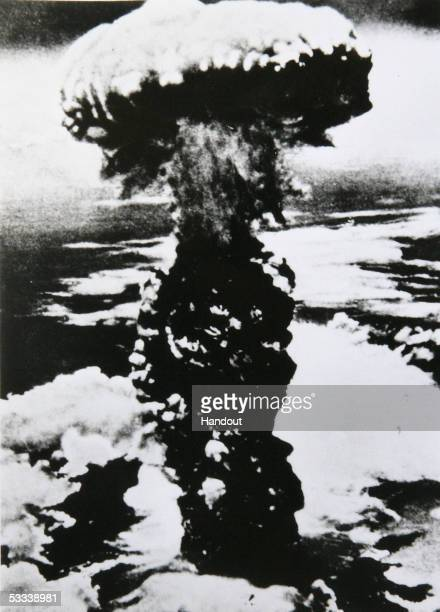 A photograph of the atomic bomb dropped in Nagasaki shows how it exploded 500m above ground at the city's memorial museum in Nagasaki on August 8...