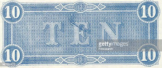 A Photograph of the back of a Ten Dollar Bank Note issued on February 17 1864