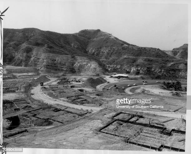 Photograph of the beginning of construction on the Royal Hills subdivision on the northeast slope of the Santa Monica Mountains. ' The two pictures...