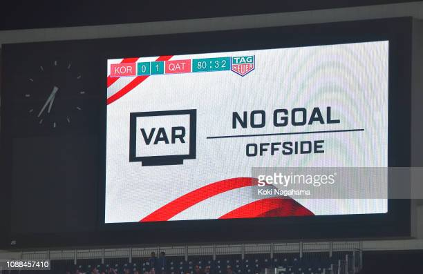 A photograph of the big screen showing a VAR result during the AFC Asian Cup quarter final match between South Korea and Qatar at Zayed Sports City...