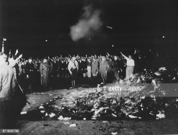 Photograph of the book burning in Germany Dated 1933