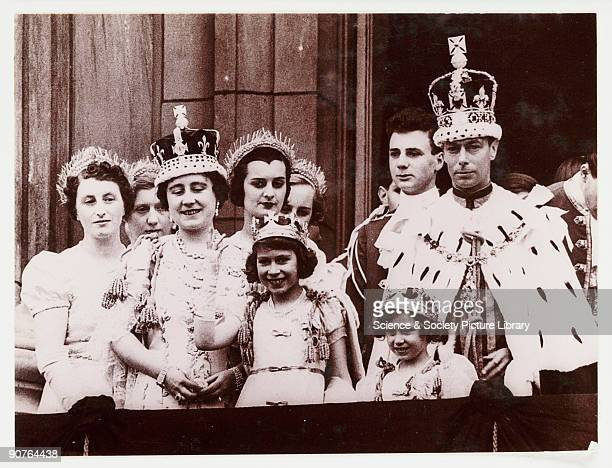 Photograph of the British Royal Family on the balcony of Buckingham Palace, taken by an unknown photographer in May following the Coronation of...