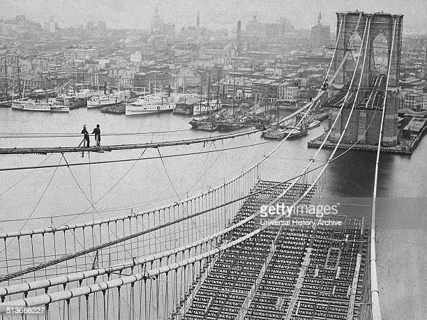 Photograph of the Brooklyn Bridge whilst under construction Dated 1883