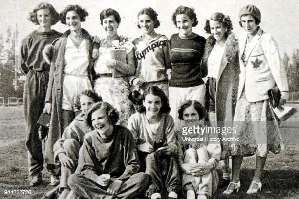 Photograph of the Canadian female track and field team 1932 Los Angeles Olympics Lillian Palmer Eva Davies Alexandrine Gibb Betty Taylor Mary...
