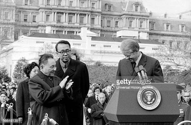 Photograph of the Chinese Vice Premier Deng Xiao Ping applauding President of the United States Jimmy Carter at the White House. Dated 1979.