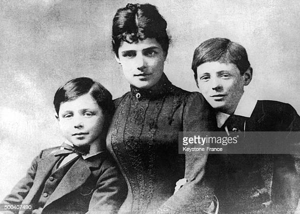 A photograph of the Churchill family Winston Churchill at 10 years old his mother Lady Randolph Churchill and his younger brother John Churchill 1884...