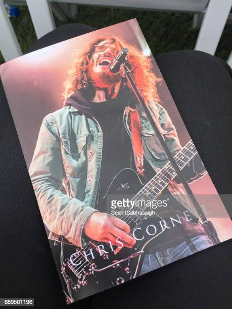 A photograph of the cover program for Chris Cornell's funeral services at Hollywood Forever on May 26 2017 in Hollywood California The grungerock...
