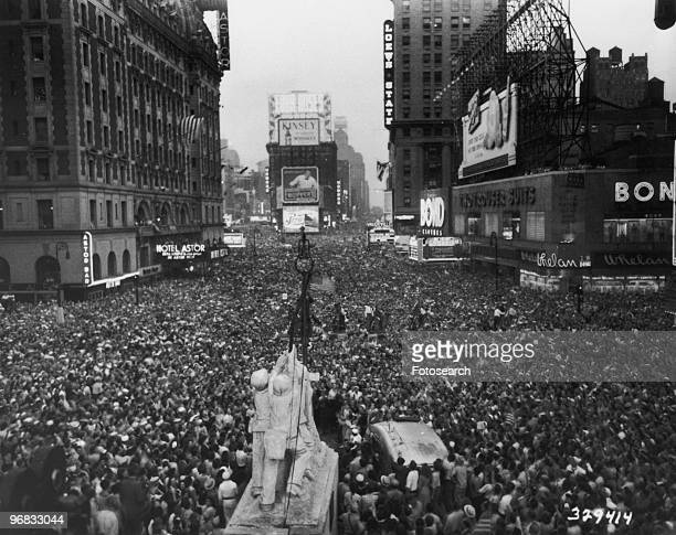 A Photograph of the Crowds in Times Square New York City Celebrating VJ Day August 14th 1945
