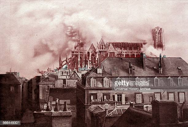 Photograph of the destruction of the Reims Cathedral by German shellfire during World War One Dated 1914
