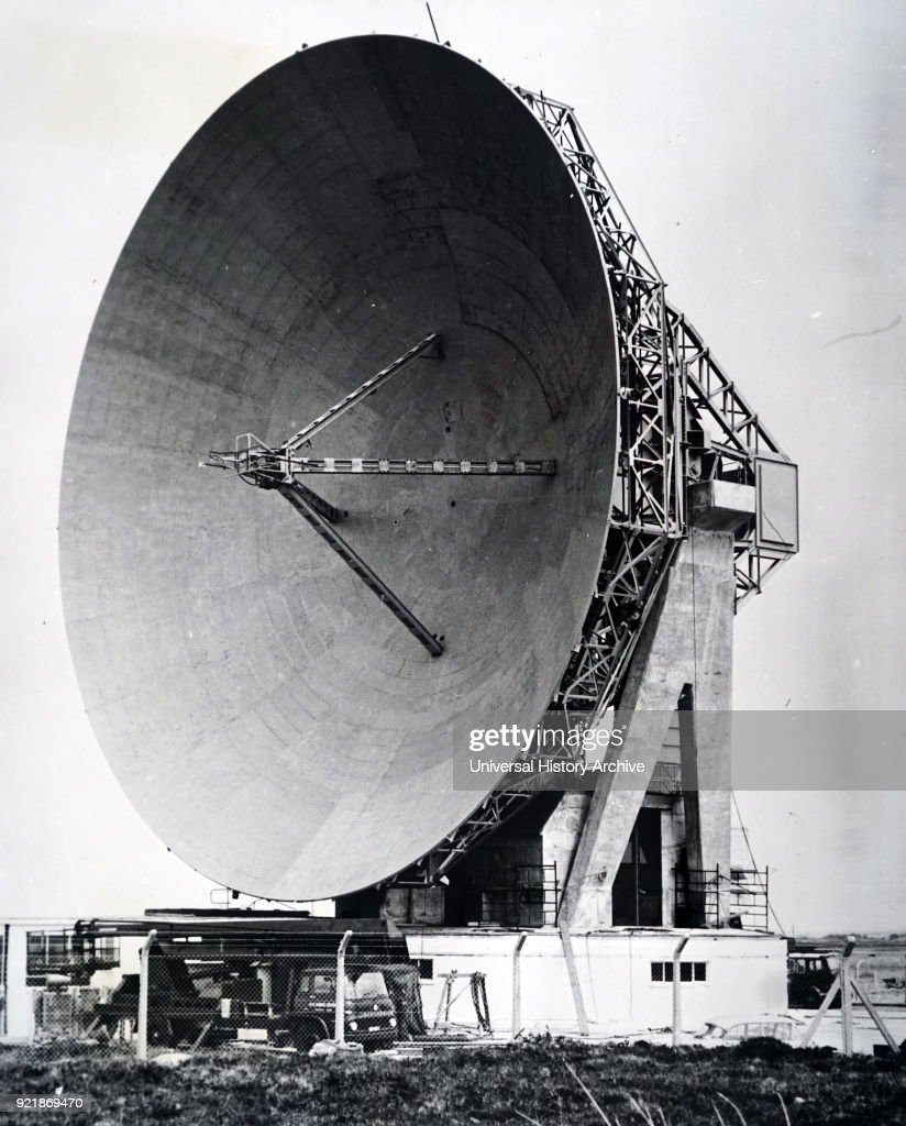 Photograph of the dish antenna used in the communications experiments with the Telstar Satellite located at Goonhilly Downs, England.