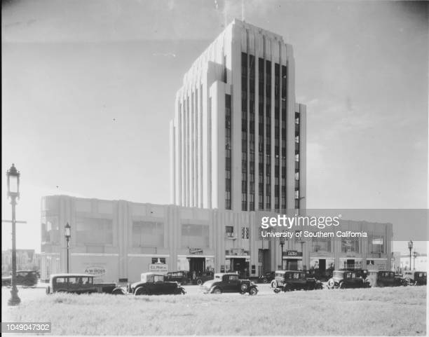 Photograph of the Dominguez Building 5400 Wilshire Boulevard at the corner of Cloverdale Avenue Los Angeles 13 March 1931 The realtor is AW...