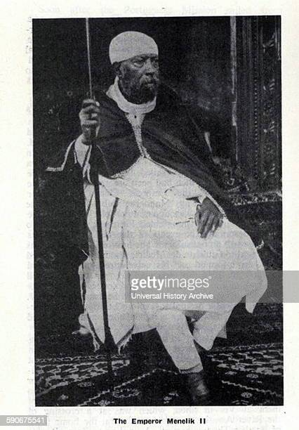 Photograph of The Emperor Menelik II of Ethiopia baptized as Sahle Maryam was Negus of Shewa then Ngusä Nägäst of Ethiopia Dated 1900