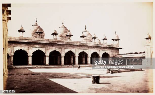 Photograph of the exterior of the Moti Masjid at Agra Fort, India, taken by Samuel Bourne. The Moti Masjid was built between 1646 and 1653 in the...