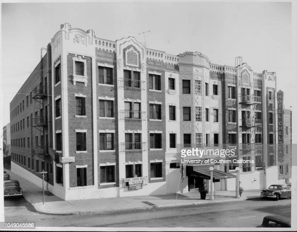 Photograph of the fourstory Hotel Chelsea 'Hotel Chelsea 504 S Bonnie Brae LA bought by Irving King' handwritten note on verso 'for 11/30/52'...