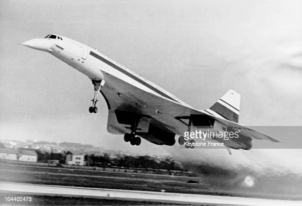 A photograph of the FrenchBritish 001 CONCORDE prototype during takeoff for a 27 minute trial flight from ToulouseBlagnac
