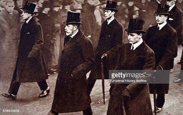 Photograph of the Funeral procession for Queen Alexandra of Denmark to Westminster Abbey Pictured King George V Edward Prince of Wales Crown Prince...