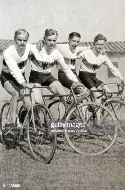Photograph of the German cycling team at the 1932 Olympic games. Julius Maus, Hubert Ebner, Werner Wittig and Henry Trondle.
