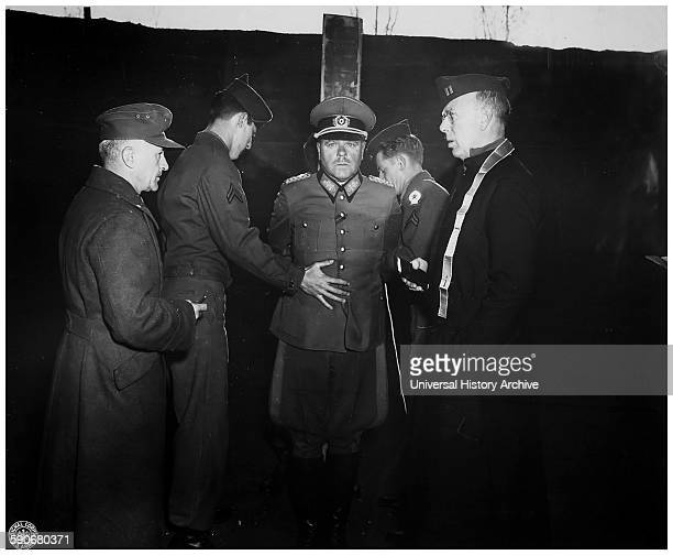 Photograph of the German General Anton Dostler tied to a stake before his execution by a firing squad Italy Dated 1945