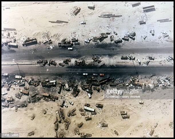 Photograph of the 'Highway of Death' the result of American forces bombing retreating Iraqi forces Kuwait 1991