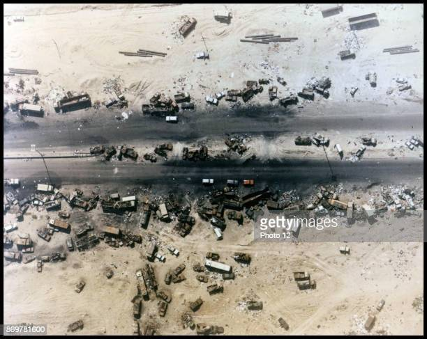 Photograph of the 'Highway of Death', the result of American forces bombing retreating Iraqi forces, Kuwait, 1991.