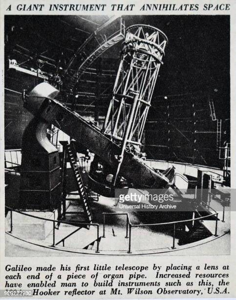 Photograph of the Hooker telescope a 100inch reflecting telescope located at the Mount Wilson Observatory California Dated 20th Century