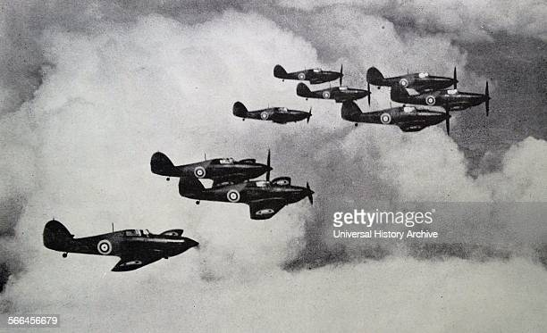 Photograph of the Hurricane Squadron Equipped with the RollsRoyce Merlin engine the top speed was 1000 mph Dated 1939