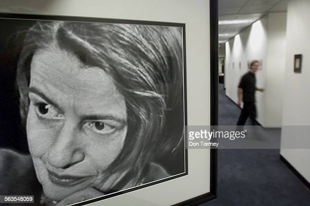 A photograph of the influential thinker and popular novelist Ayn Rand taken during a TV interview in the 1960's hangs in the offices of the Ayn Rand...